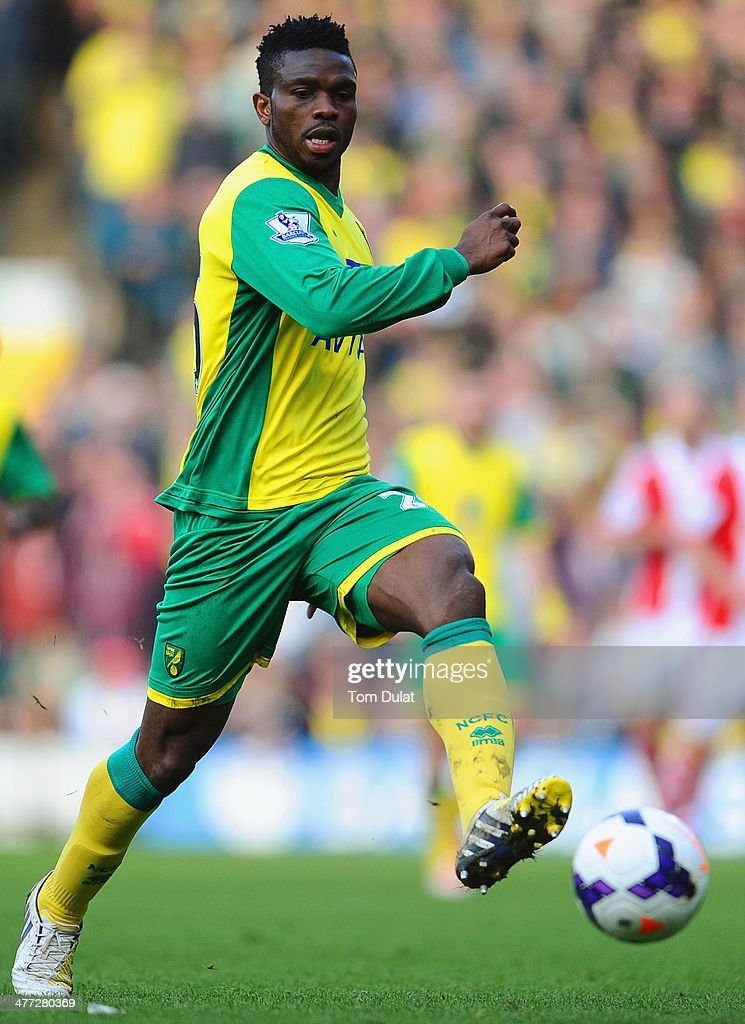 <a gi-track='captionPersonalityLinkClicked' href=/galleries/search?phrase=Joseph+Yobo&family=editorial&specificpeople=220395 ng-click='$event.stopPropagation()'>Joseph Yobo</a> of Norwich City in action during the Barclays Premier League match between Norwich City and Stoke City at Carrow Road on March 08, 2014 in Norwich, England.