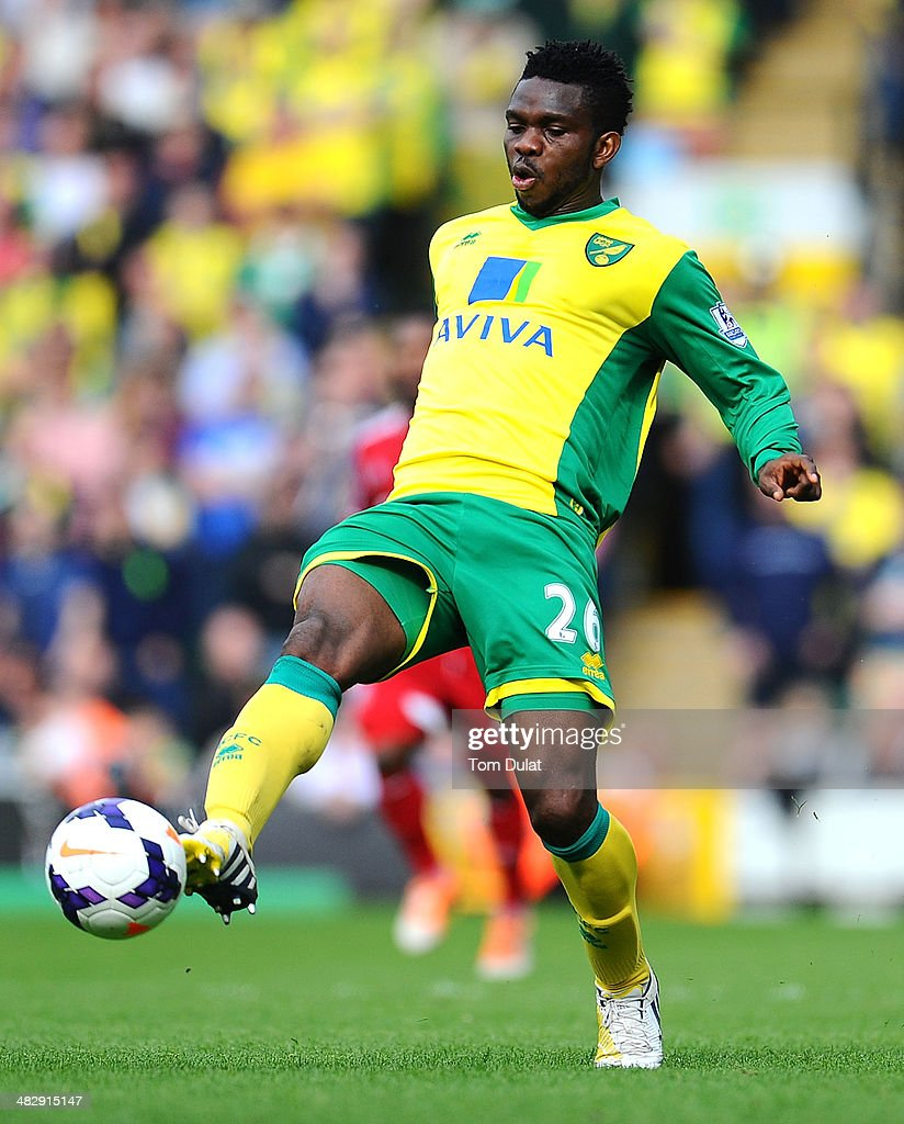 <a gi-track='captionPersonalityLinkClicked' href=/galleries/search?phrase=Joseph+Yobo&family=editorial&specificpeople=220395 ng-click='$event.stopPropagation()'>Joseph Yobo</a> of Norwich City in action during the Barclays Premier League match between Norwich City and West Bromwich Albion at Carrow Road on April 05, 2014 in Norwich, England.