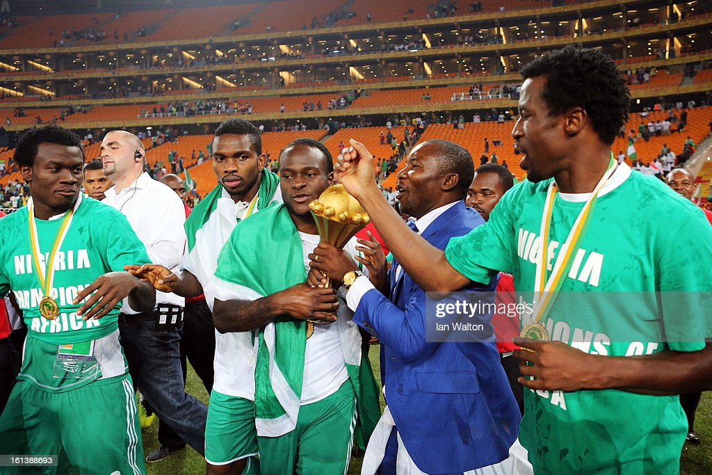 Joseph Yobo, Victor Moses and team mates celebrate with the trophy after winning the 2013 Africa Cup of Nations Final match between Nigeria and Burkina at FNB Stadium on February 10, 2013 in Johannesburg, South Africa.