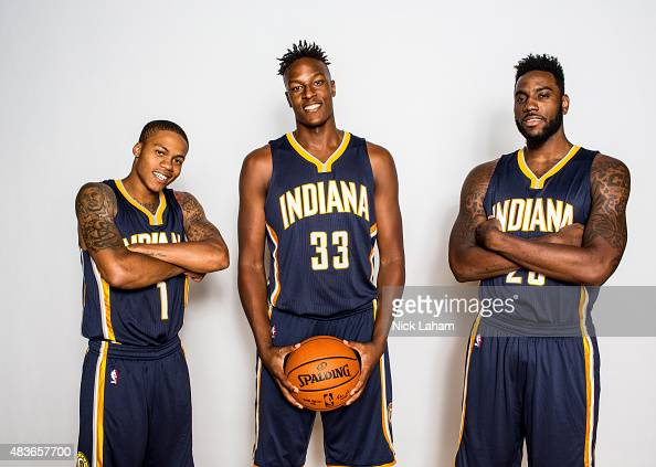 Joseph Young Myles Turner and Rakeem Christmas of the Indiana Pacers poses for a portrait during the 2015 NBA rookie photo shoot on August 8 2015 at...