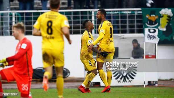 JosephClaude Gyau and Saliou Sane of SonnenhofGrossaspach celebration after the goal 02 during the 3 Liga match between SC Preussen Muenster and SG...