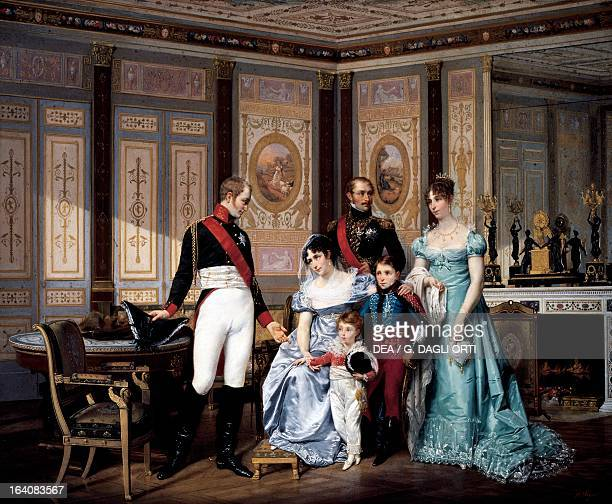 Josephine Beauharnais receiving a visit from Tsar Alexander I in 1814 with her children and grandchildren Eugene and Hortense painting by Jean Louis...