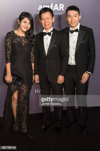 Josephine Chiu poses on the red carpet during the 2017 American Foundation for AIDS Research Hong Kong gala at Shaw Studios in Hong Kong on March 25...