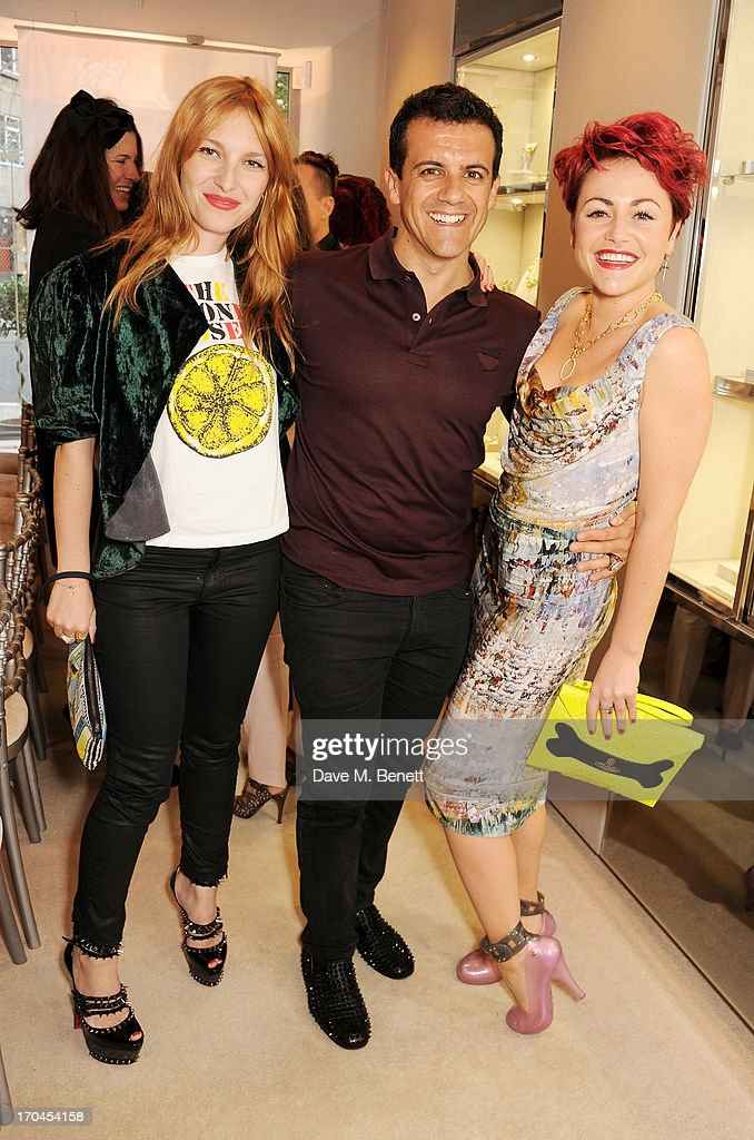 Josephine de la Baume, Amedeo Scognamiglio and Jaime Winstone attend the 12th birthday of New York jewellery house Faraone Mennella, with guest of honour Patricia Field, at their Knightsbridge store on June 13, 2013 in London, England.