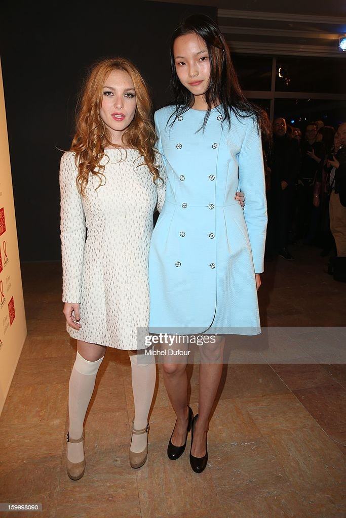Josephine de la Baume and guest attend the Sidaction Gala Dinner 2013 at Pavillon d'Armenonville on January 24, 2013 in Paris, France.