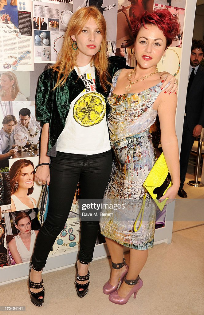 Josephine de la Baume (L) and Jaime Winstone attend the 12th birthday of New York jewellery house Faraone Mennella, with guest of honour Patricia Field, at their Knightsbridge store on June 13, 2013 in London, England.