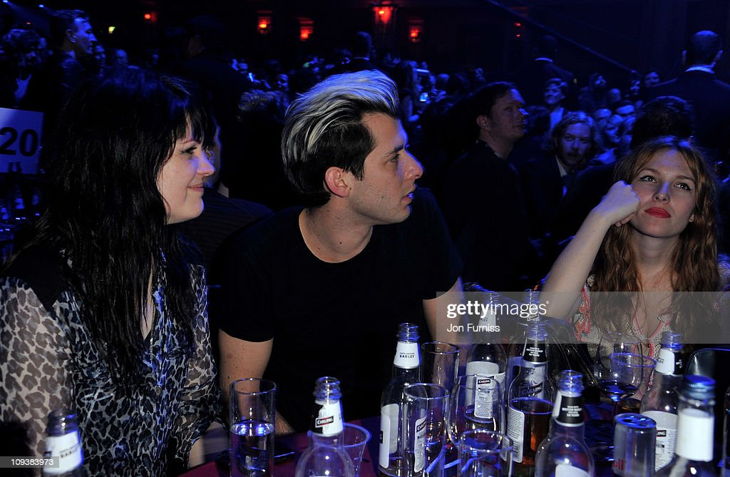 Josephine de la Baume and <a gi-track='captionPersonalityLinkClicked' href=/galleries/search?phrase=Mark+Ronson&family=editorial&specificpeople=853261 ng-click='$event.stopPropagation()'>Mark Ronson</a> at the NME Awards 2011 at Brixton Academy on February 23, 2011 in London, England.