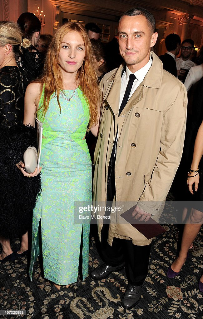 Josephine de la Baume (L) and Richard Niccol attend a drinks reception at the British Fashion Awards 2012 at The Savoy Hotel on November 27, 2012 in London, England.