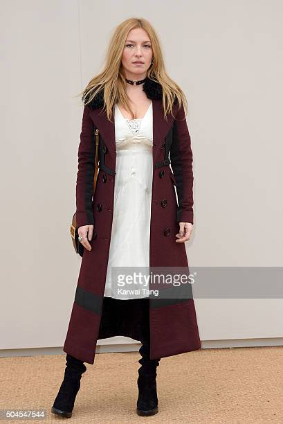 Josephine de La Baume attends the Burberry show during The London Collections Men AW16 at Kensington Gardens on January 11 2016 in London England