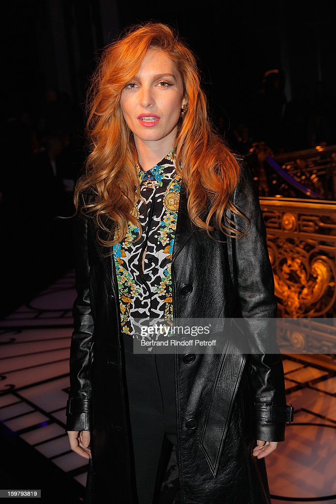 Josephine de la Baume attends the Versace Spring/Summer 2013 Haute-Couture show as part of Paris Fashion Week at Le Centorial on January 20, 2013 in Paris, France.