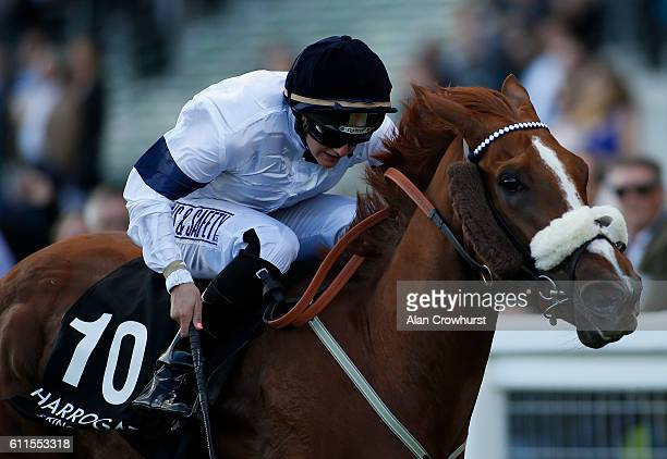 Josephine Gordon riding Symposium win The Original Harrogate Water Handicap Stakes at Ascot Racecourse on September 30 2016 in Ascot England