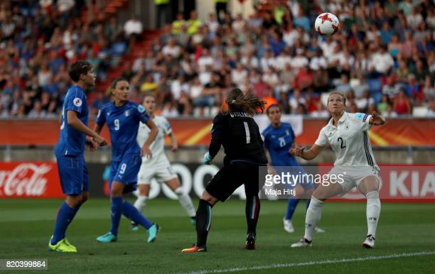 Josephine Henning of Germany heads the opening goal during the Group B match between Germany and Italy during the UEFA Women's Euro 2017 at Koning...
