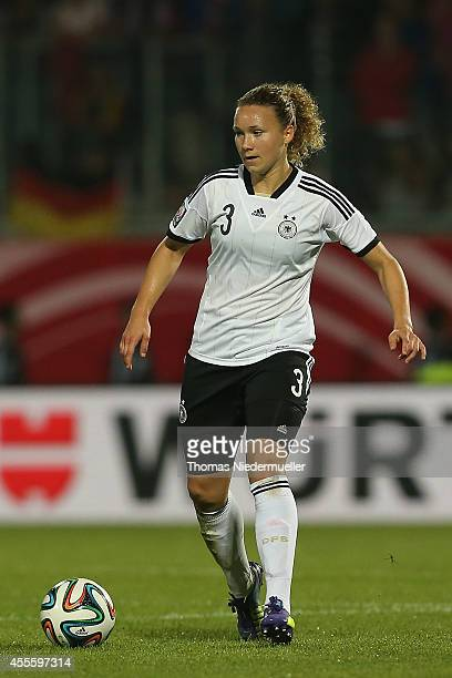 Josephine Henning of Germany in action with the ball during the FIFA Women's World Cup 2015 qualifier between Germany and Ireland at VoithArena on...