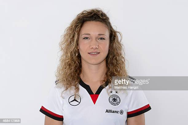 Josephine Henning of Germany poses for a portrait during the DFB Women's Marketing Day at the CommerzbankArena on January 14 2015 in Frankfurt am...