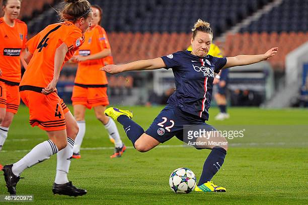 Josephine Henning of Paris SaintGermain in action during the UEFA Woman's Champions League Quarter Final match between Glasgow City and Paris...
