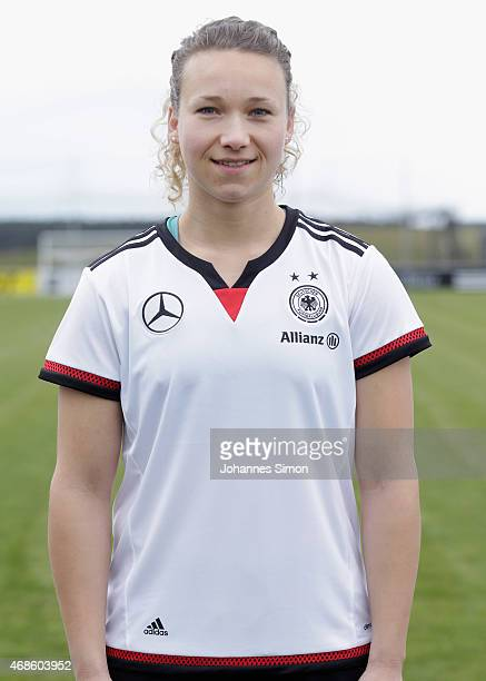 Josephine Henning poses during the team presentation of the German Women's national team at Adi Dassler Stadium on April 4 2015 in Herzogenaurach...