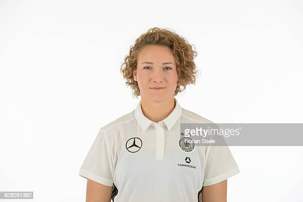 Josephine Henning poses in the new home jersey of the German women's national soccer team on November 25 2016 in Chemnitz Germany