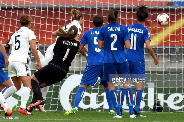 Josephine Henning scores the opening goal during the UEFA Women's Euro 2017 Group B match between Germany and Italy at Koning Willem II Stadium on...
