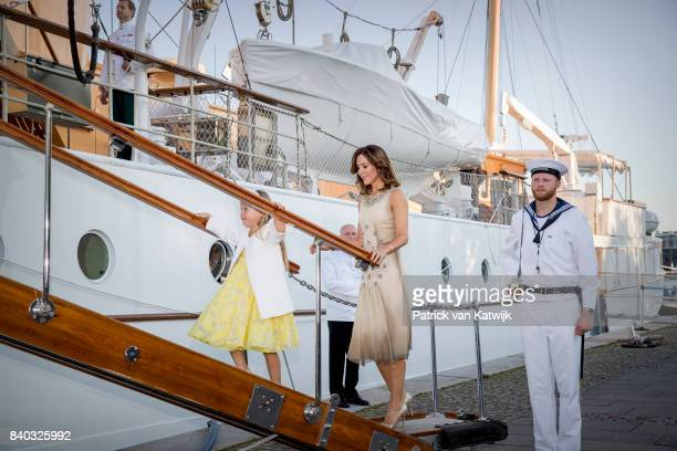 Josephine of Denmark and Crown princess Mary of Denmark attend the 18th birthday celebration of Prince Nikolai at royal ship Dannebrog on August 28...