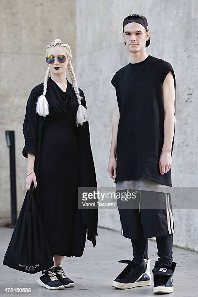 Josephine Panel and Charles Berejnoi pose wearing Rick Owens on June 25 2015 in Paris France