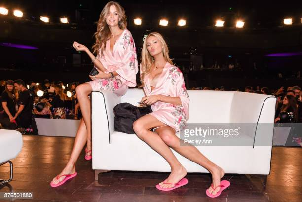 Josephine Skriver and Elsa Hosk attend 2017 Victoria's Secret Fashion Show in Shanghai at MercedesBenz Arena on November 20 2017 in Shanghai China