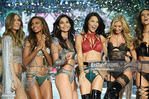 Josephine Skriver Jasmine TookesLily AldridgeAdriana Lima LilyElsa Hosk and Alessandra Ambrosio walk the runway during the 2016 Victoria's Secret...