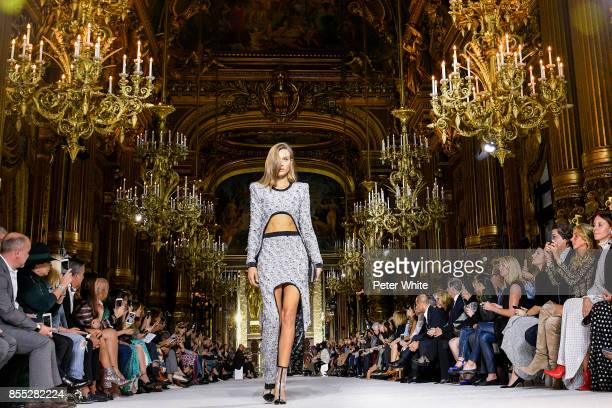 Josephine Skriver walks the runway during the Balmain show as part of the Paris Fashion Week Womenswear Spring/Summer 2018 on September 28 2017 in...