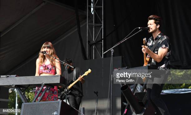 Josephine Vander Gucht and Anthony West of Oh Wonder performs onstage at 2017 Music Midtown at Piedmont Park on September 16 2017 in Atlanta Georgia