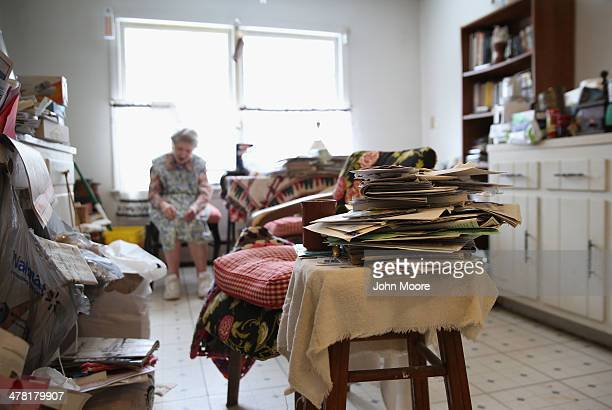 Josephine Yaroz sits in her dining room after receiving a 'meals on wheels' food delivery on March 12 2014 in Montague New Jersey This year's harsh...