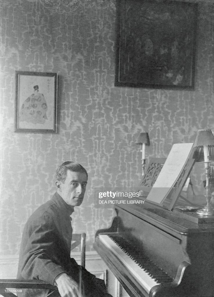Joseph-<a gi-track='captionPersonalityLinkClicked' href=/galleries/search?phrase=Maurice+Ravel&family=editorial&specificpeople=488980 ng-click='$event.stopPropagation()'>Maurice Ravel</a> (Ciboure or Ziburu, 1875 - Paris, 1937), French composer and pianist, in his flat on Carnot avenue, Paris, March 1912.