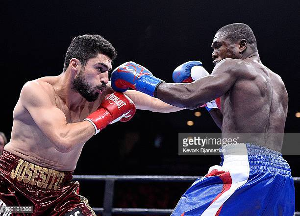 Josesito Lopez throws a punch against Andre Berto during their 12 round welterweight bout at Citizens Business Bank Arena March 13 2015 in Ontario...