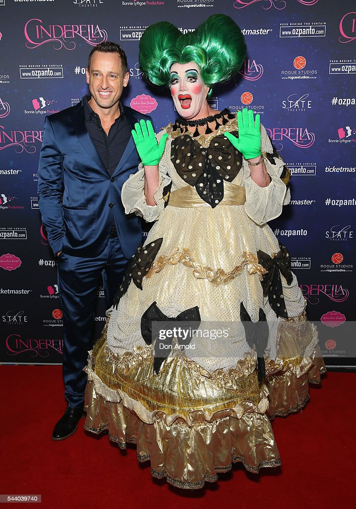 Josh Adamson and Craig Bennett arrive ahead of opening night of Cinderella at State Theatre on July 1, 2016 in Sydney, Australia.