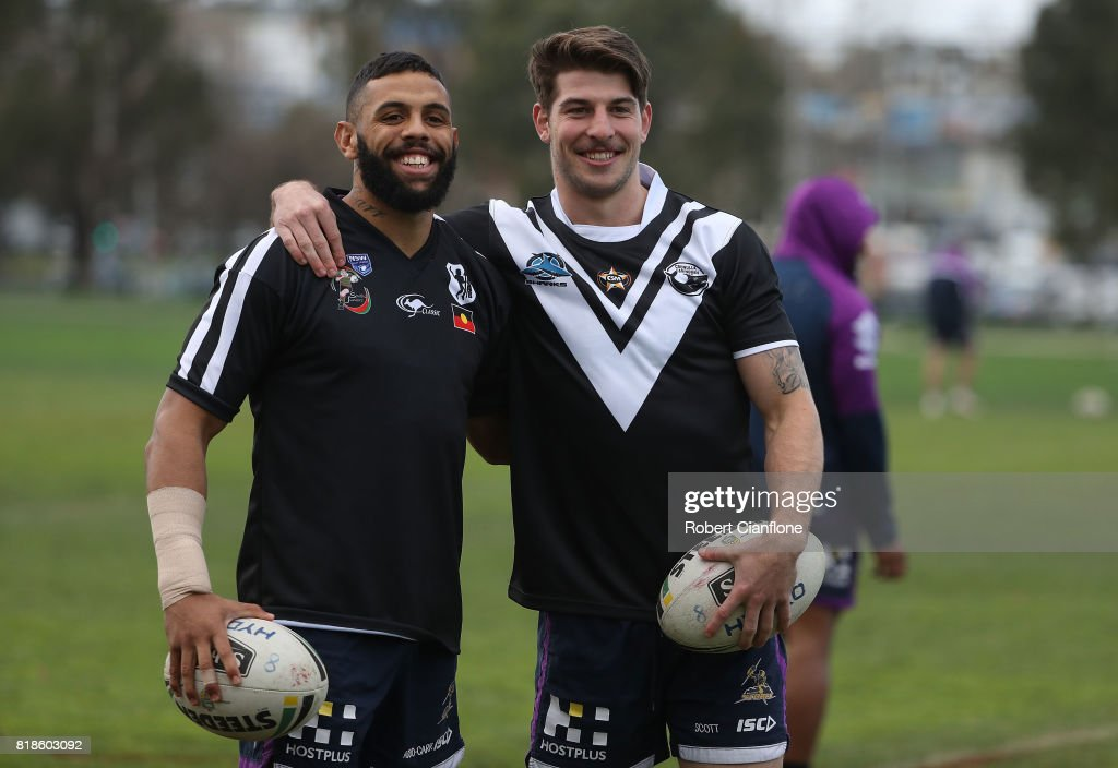 Josh Addo-Carr and Curtis Scott of the Storm pose during a Melbourne Storm NRL training session at Gosch's Paddock on July 19, 2017 in Melbourne, Australia.