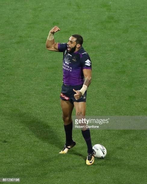 Josh AddoCarr of the Storm celebrates after scoring a try during the NRL Preliminary Final match between the Melbourne Storm and the Brisbane Broncos...