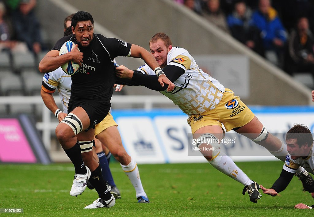 Josh Afu of Newcastle bursts through the Albi defence during the Amlin Challenge Cup match between Newcastle Falcons and Albi at Kingston Park on October 18, 2009 in Newcastle upon Tyne, England.