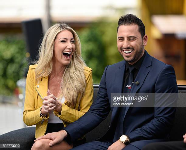 Josh Altman and Heather Bilyeau visit 'Extra' at Universal Studios Hollywood on April 20 2016 in Universal City California
