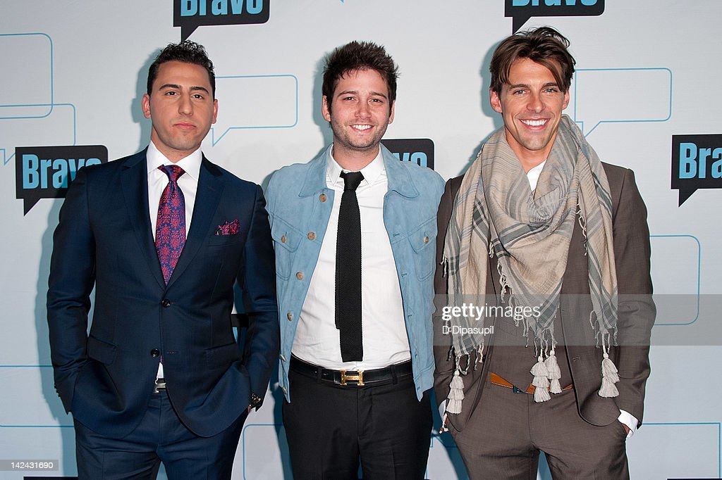 Josh Altman, Josh Flagg, and Madison Hildebrand attend Bravo Upfront 2012 at Center 548 on April 4, 2012 in New York City.