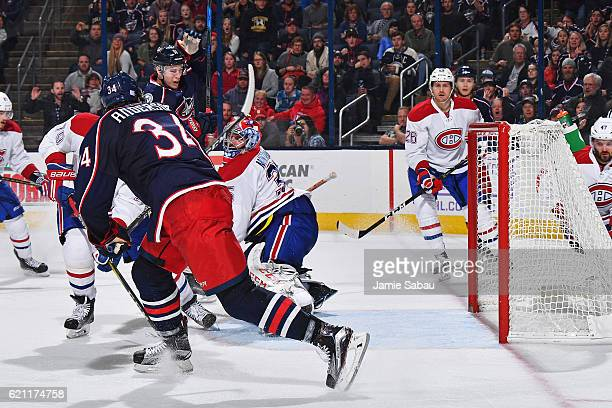 Josh Anderson of the Columbus Blue Jackets scores on goaltender Al Montoya of the Montreal Canadiens during the third period of a game on November 4...