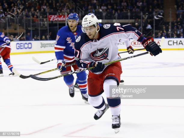 Josh Anderson of the Columbus Blue Jackets skates against the New York Rangers at Madison Square Garden on November 6 2017 in New York City The...