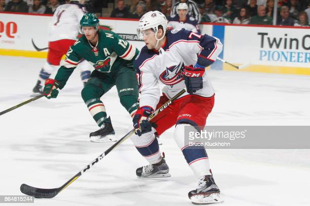 Josh Anderson of the Columbus Blue Jackets skates with the puck against the Minnesota Wild during the game at the Xcel Energy Center on October 14...