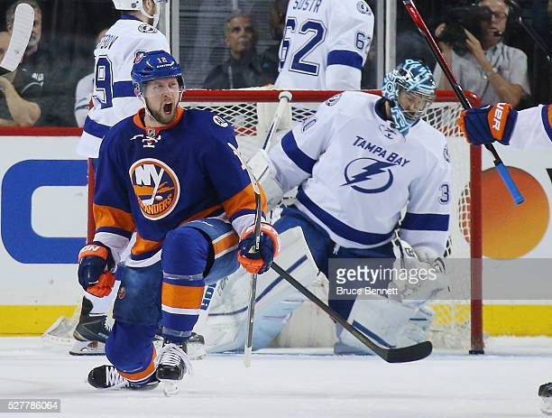 Josh Bailey of the New York Islanders celebrates his goal at 811 of the first period against Ben Bishop of the Tampa Bay Lightning in Game Three of...