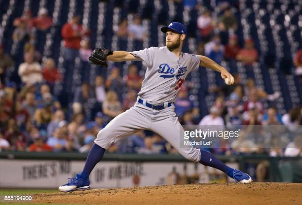 Josh Bard of the Los Angeles Dodgers pitches against the Philadelphia Phillies at Citizens Bank Park on September 18 2017 in Philadelphia Pennsylvania