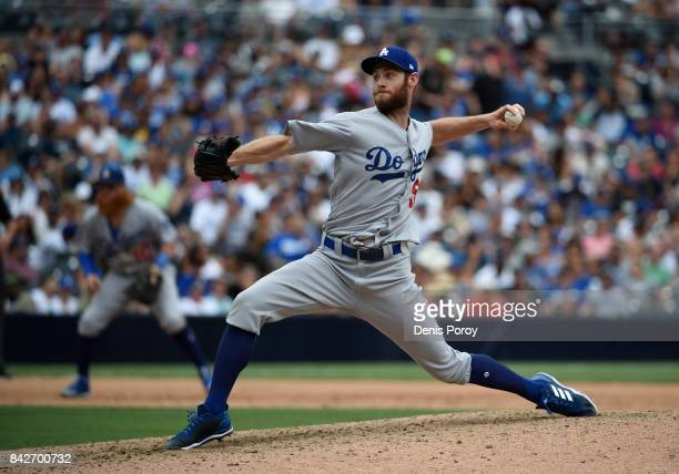 Josh Bard of the Los Angeles Dodgers plays during a baseball game against the San Diego Padres at PETCO Park on September 3 2017 in San Diego...