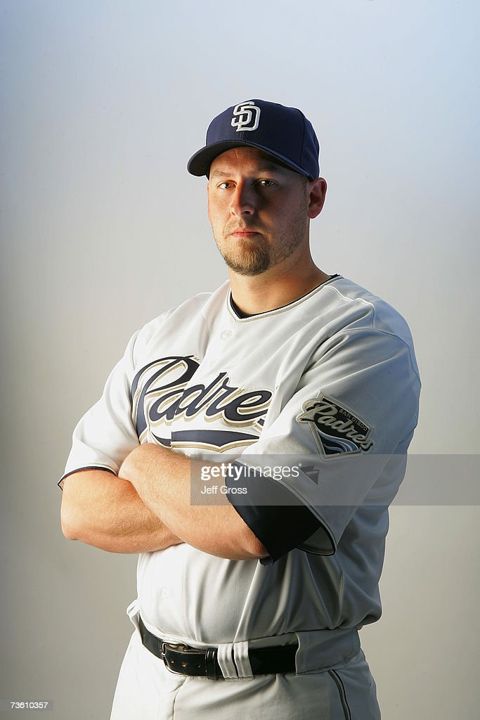 Josh Bard of the San Diego Padres poses for a portrait during San Diego Padres Photo Day at the Peoria Sports Complex on February 23, 2007 in Peoria, Arizona.