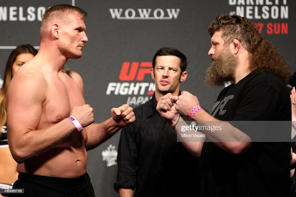 Josh Barnett and Roy Nelson during the UFC weighin at the Saitama Super Arena on September 25 2015 in Saitama Japan