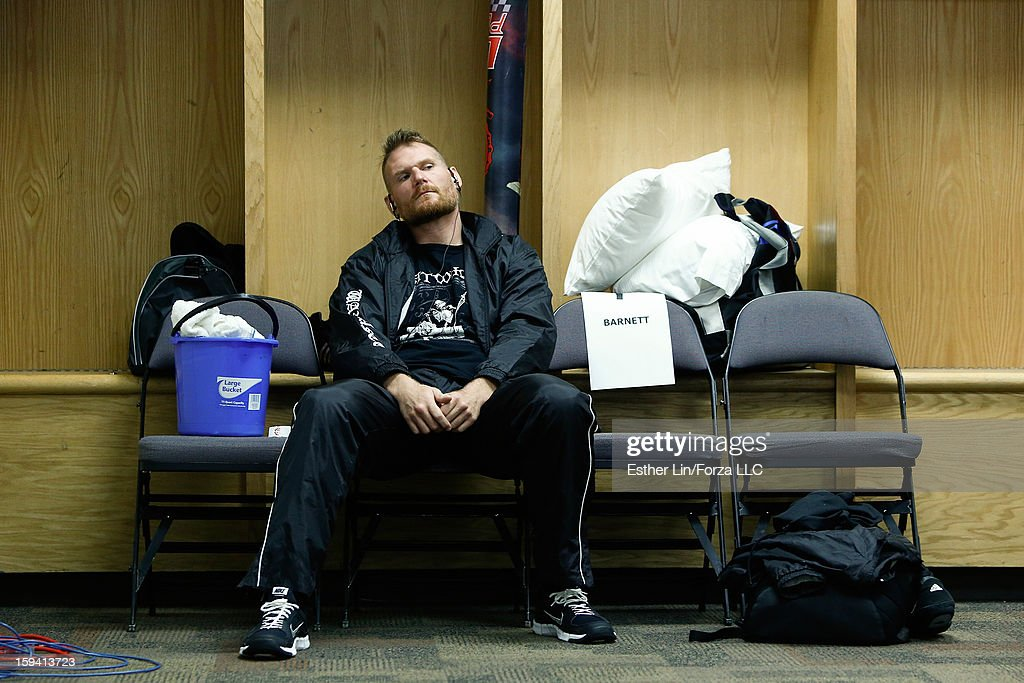 Josh Barnett relaxes in his locker room before his heavyweight bout against Nandor Guelmino during the Strikeforce event on January 12, 2013 at Chesapeake Energy Arena in Oklahoma City, Oklahoma.