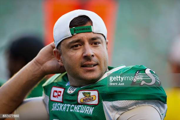 Josh Bartel of the Saskatchewan Roughriders on the sideline during the game between the BC Lions and the Saskatchewan Roughriders at Mosaic Stadium...