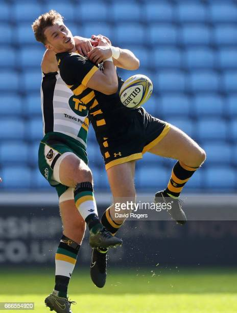 Josh Bassett of Wasps catches the ball during the Aviva Premiership match between Wasps and Northampton Saints at The Ricoh Arena on April 9 2017 in...