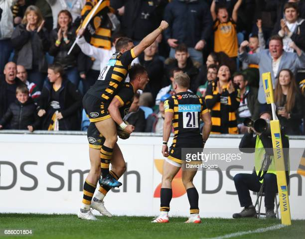 Josh Bassett of Wasps celebrates after scoring the last minute match winning try during the Aviva Premiership semi final match between Wasps and...
