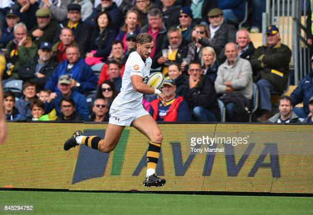 Josh Bassett of Wasps during the Aviva Premiership match between Worcester Warriors and Wasps at Sixways Stadium on September 10 2017 in Worcester...